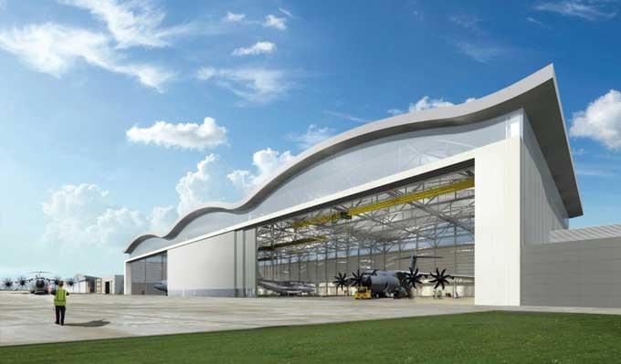 A400M nieuwe hangar in opbouw